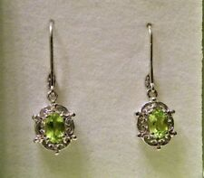 August Birthstone~ Sterling Silver Oval Peridot Earrings Leverback