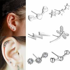 1PC Fashion Women Elegant Flower Pentagram Crystal Rhinestone Ear Stud Earring
