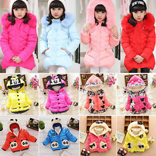 Kids Girls Baby Faux Fur Fleece Lined Coat Winter Warm Slim Fit Jacket Outerwear