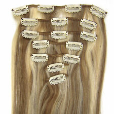 """15""""18""""20""""22"""" Clip In Extensions Remy Human Hair #12/613 Brown&Blonde Mix 7PCS"""