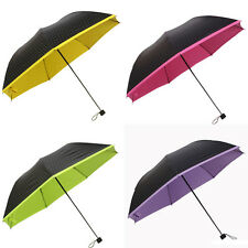 New Women Polka Dot Parasol  Folding Umbrella Colored Inside  Umbrella 1PC