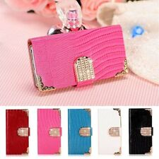 Luxury Bling PU Leather Case Magnetic Flip Wallet Cover Skin For Samsung iPhone