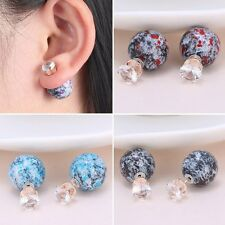 Women Ink Painting Crystal Double Sided Beads Ball Plug Retro Ear Studs Earrings