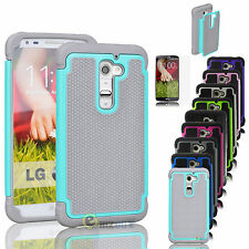For LG G2 / G3 / G4 Hybrid Protective Rugged Rubber Matte Hard Case Cover + Film