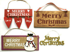 MERRY CHRISTMAS WOODEN PLAQUE/GOLD GLITTERED SIGN TREE,WALL DOOR HANGING DECOR