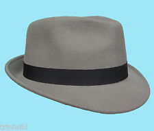 Trilby Fedora Grey 100% Wool Hat with Black Band