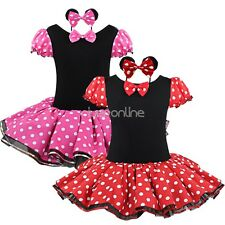 Girl Kids Toddler Baby Minnie Mouse Fancy Dress UP Outfit Costume Ears sz 12M-8Y