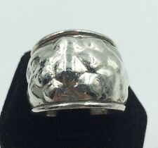 Vintage Hammered Sterling Silver Wide Ring Band Size 8