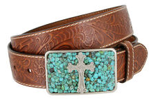 Womens Western Embossed Genuine Leather Casual Jean Belt with Cross Buckle