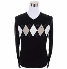 Tommy Hilfiger Men Classic V-Neck Argyle Long Sleeve Sweater - Free $0 Shipping