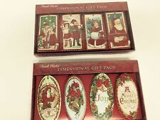 Punch Studio Christmas 12 Dimensional Glitter Embellished Gift Tags New in Box