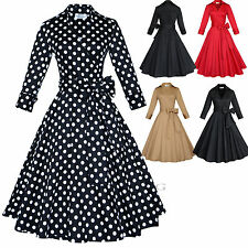 Maggie Tang 50s Retro VTG Rockabilly Hepburn Pinup Party Swing Wrap Dress R-560