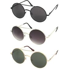 Round Circle Large Front Sunglasses With Crossbar Metal Frame Oversize Sunnies