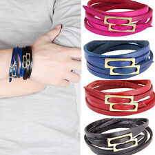 Men Women Stylish Leather Infinity Chain Bracelets Wristband Jewelry Adjustable
