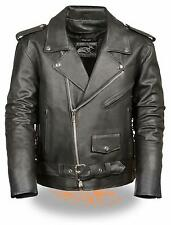 Mens Black Leather Half Belt Motorcycle Jacket w Zipout Liner