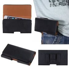 BLACK Horizontal LEATHER MOBILE PHONE SECURE BELT LOOP FLIP POUCH COVER CASE