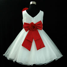 Kids Reds Christening Christmas Wedding Flower Girls Dresses SIZE 2,4,6,8,10,12T