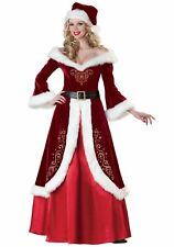 K117 Santa Mrs Claus Christmas Fancy Dress Up Costume Xmas Party Outfit & Hat