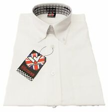 Warrior Ace Face Short Sleeved Vintage Gingham Retro Mod Button Down shirts