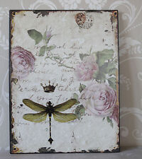 French style dragonfly plaque rose pink shabby vintage chic picture gift