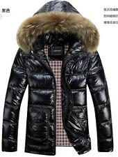 plus size mens down coat thicken jacket hooded fur collar shiny parka warm short
