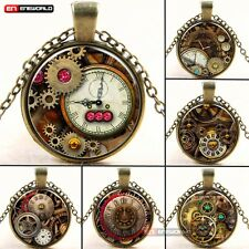 Vintage Steampunk Cabochon Bronze plated photo Glass Pendant Necklace Chain UK