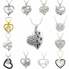 Fashion Mom Love Heart Footprint Crystal Chain Necklace Mother's Day Family Gift