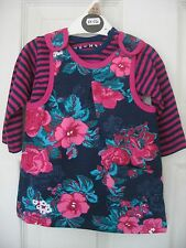 New Baby Girls 2 Piece Cotton Navy Pink Pinafore Top Dress Set 0 3 6 9 12 18 Mth