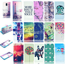 For Samsung Galaxy S6 S5 I9600 S4 S3 Painted Leather Card Wallet Flip Cover Case