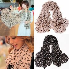 Chic Women Lady Chiffon Cats Print Neck Long Soft Scarf Wrap Shawl Stole Scarves