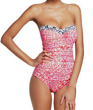 Tommy Bahama Tummy Control Coral Medallion Slimming Bandeau One Piece Swimsuit