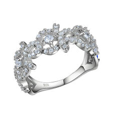 0.2 Round White Cz 925 Sterling Silver Engagement Wedding Eternity Ring Sz 5-10