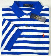 NWT $89 Polo Ralph Lauren Mesh Shirt Mens Small Blue Stripe Short Sleeve NEW