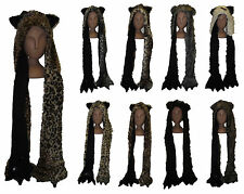 Luxury Faux Fur Animal Hooded Hat & Pocket Scarf With Claws, One Size