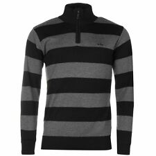 Lee Cooper Mens 1/2 Zip Knitted Jumper Top Pullover Long Sleeves Stripes Casual