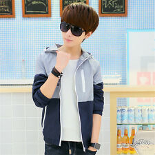 Men's Stylish Slim Fit Long Sleeve Hooded Color Block Casual Thin Coat Jackets