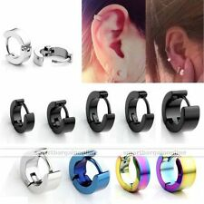 Pair Stainless Steel Round Hoop Huggies Earrings Men Women Jewelry Width 3-6mm