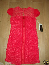 Forever Unique Party Mini Bodycon Lace Dress Ruched Red UK 8 10 New X53153