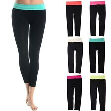 Seamless Contrast Color Waistband Capri Yoga Gym Leggings ONE SIZE
