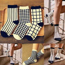 Unisex Casual Fashion Plaid Design Cotton Socks Dress match Mens Women's Socks
