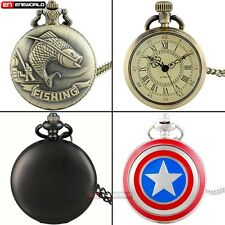 Steampunk Full Hunter Quartz Pocket Watch Antique Necklace Chain Pendant Gift