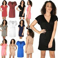 Womens Ladies Wrap Cross Jersey Ruched Tunic Batwing Bodycon Mini Skater Dress