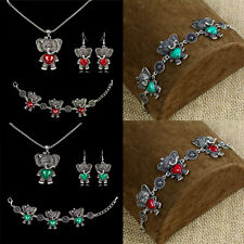 Vintage Silver Turquoise Elephant Charms Necklace Bracelet Earring Jewelry Set