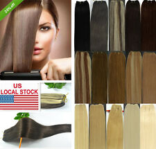 US STOCK 100g 20''Long 45''Wide WEFT Remy Real Human Hair Extensions Full Head