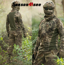 Long-sleeve T-shirt HLD Camo Moisture Wicking Camouflage Men Hunting Cotton Army