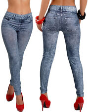 2017 Womens Fashion Sexy Jeans Look Leggings Skinny Stretchy Jeggings Soft Pants