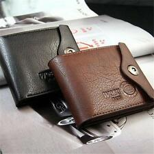 Mens Leather Bifold Wallet ID Cards Holder Coin Pocket Bag Button Slim Purse Y2