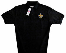 New Orleans Saints NFL Team Apparel Black Classic Polo Shirt Mens Large NWT