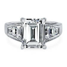 BERRICLE Sterling Silver 4.88 Carat Emerald Cut CZ Solitaire Engagement Ring