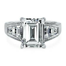 BERRICLE Sterling Silver Emerald Cut CZ Solitaire Engagement Ring 4.88 Carat